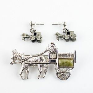 Vintage Horse and Buggy Earring and Brooch Set